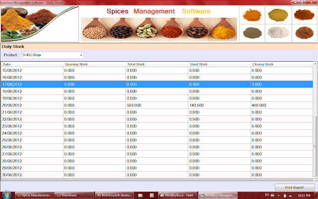 Daily Report of Stock by Selected Product of Spices Software in Rajkot,Gujarat,India