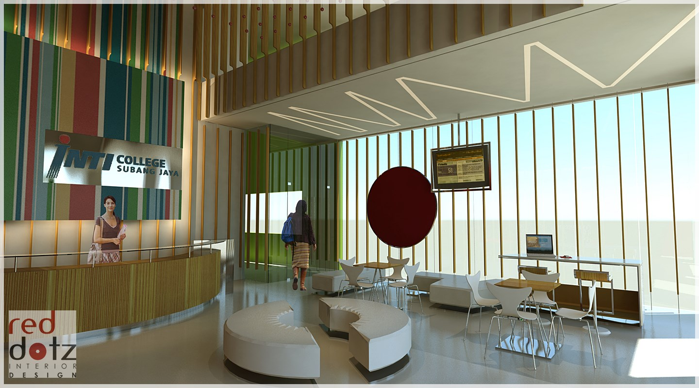 Our interior design proposal for Inti University reception and