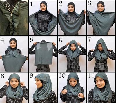 gambar cara memakai jilbab segi empat panjang