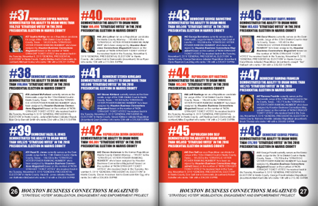 "PAGES 26 AND 27 - HOUSTON BUSINESS CONNECTIONS MAGAZINE© ""STRATEGIC VOTER"" MOBILIZATION CAMPAIGN"
