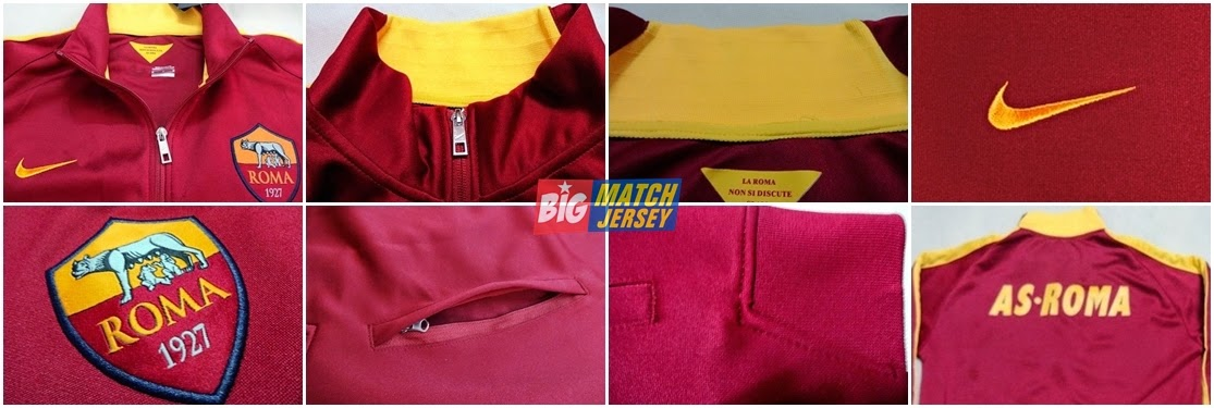 DETAIL JAKET GRADE ORI AS ROMA OFFICIAL 2014-2015 (S M L XL)