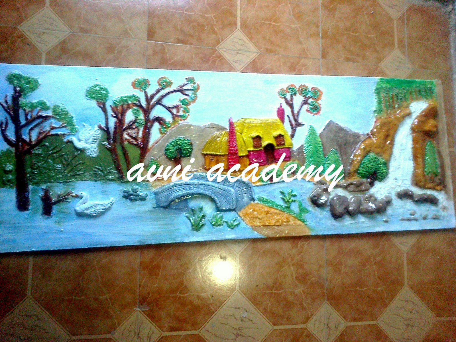 Avni 39 s art and crafts 3d landscape mural for 3d mural painting tutorial