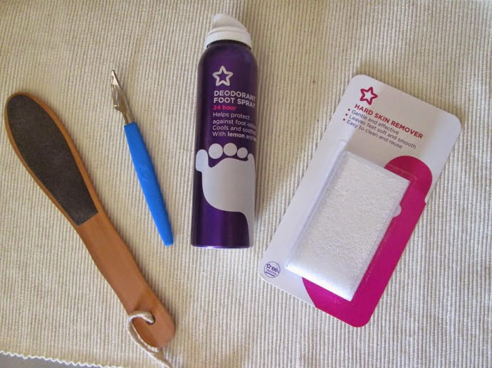 foot file, callous remover, foot spray, hard skin remover from superdrug.