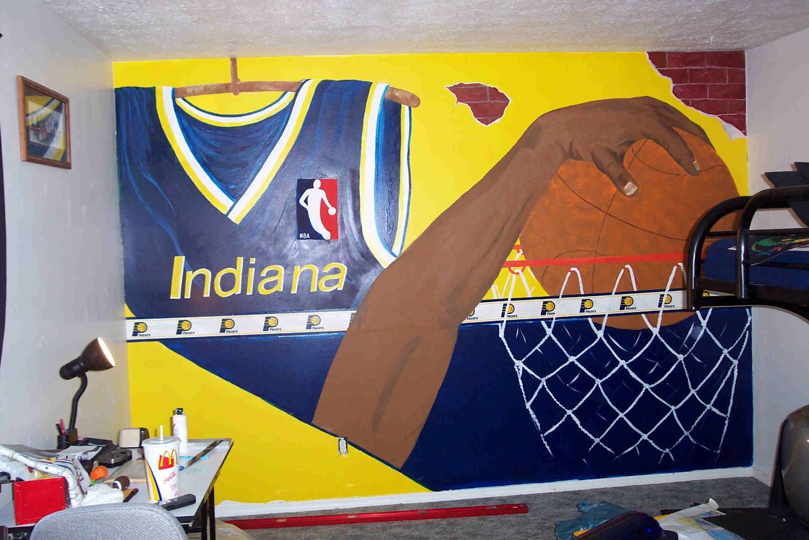 Dddesigns murals pacers oversize basketball room for Basketball mural wallpaper