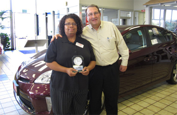 Joslyn Simien In The Business Office Accounting Department At Manhattan  Beach Toyota Is The Employee Of The Month Of June. Here She Is With General  Manager ...