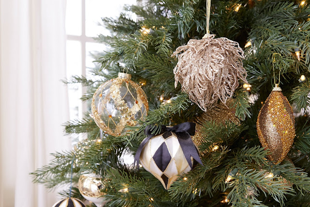 Gold black and white Christmas ornaments | CANVAS Christmas Collection | RamblingRenovators.ca