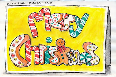 Christmas Card drawing by ©Ana Tirolese