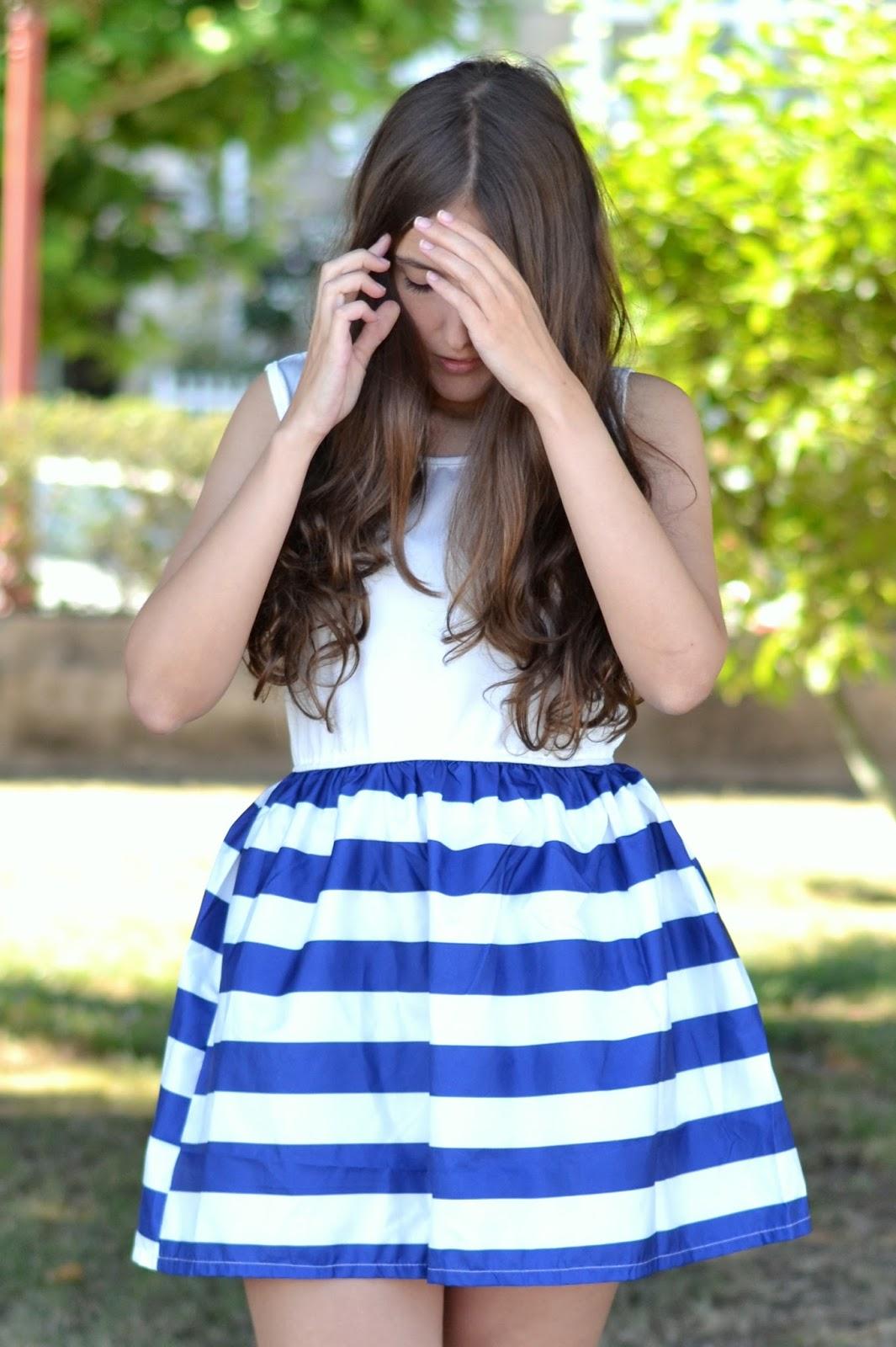 navy dress, stripes, cndirect
