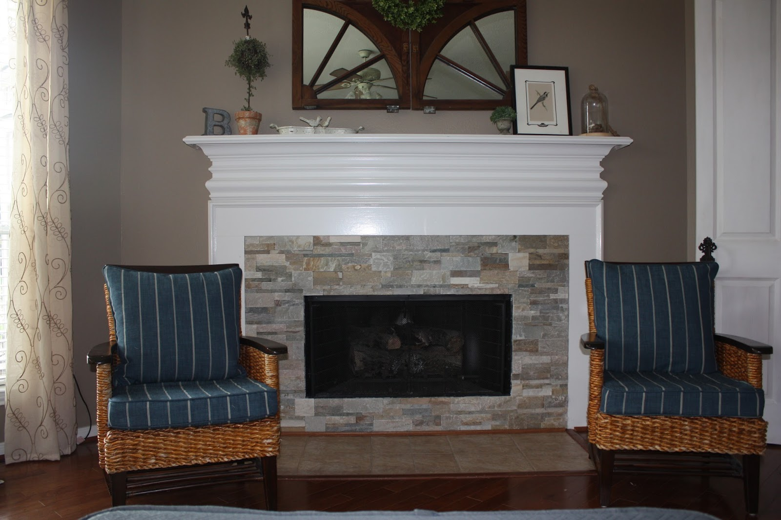 New Stacked Stone Fireplace Surround