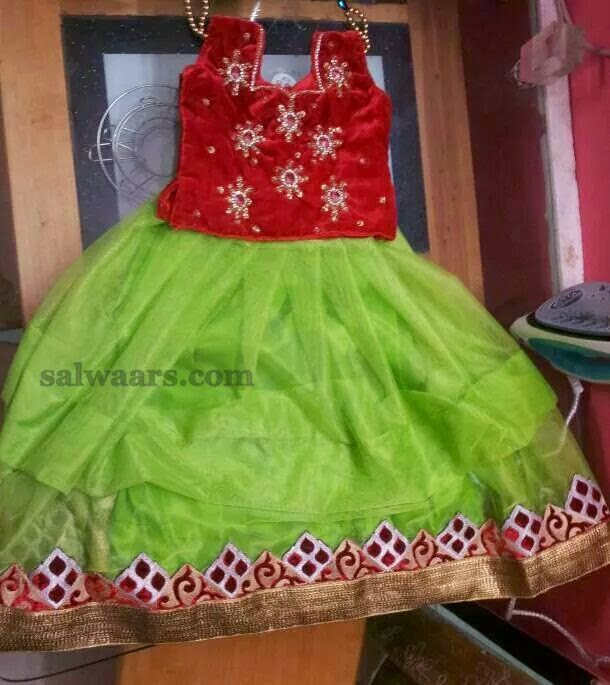 Parrot Green Simple Skirt