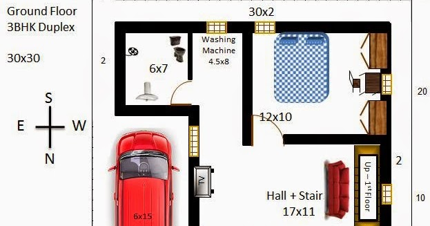 My little indian villa 33 r26 3bhk duplex in 30x30 for 30x30 house plans india