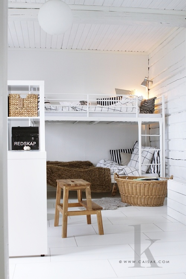 scandinavian children room with bunk bed