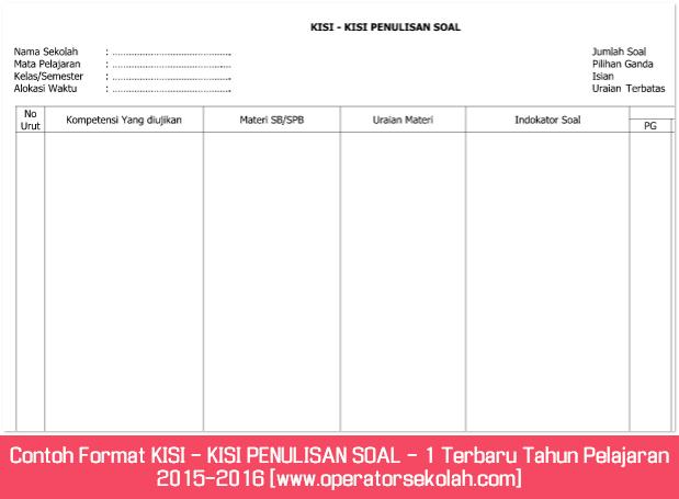 Contoh Format KISI - KISI PENULISAN SOAL - 1 Terbaru Tahun Pelajaran 2015-2016 [www.operatorsekolah.com]