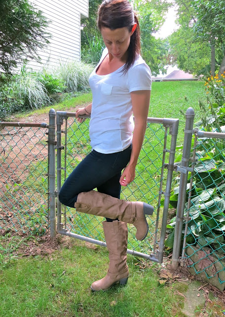 White Tee Brown Boots Outfit