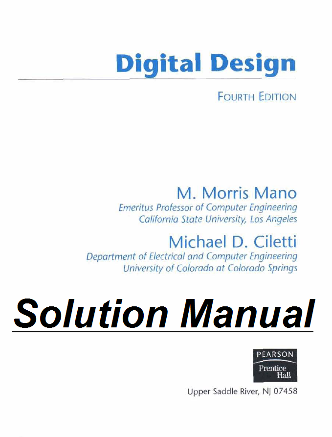 digital logic and computer design solution manual