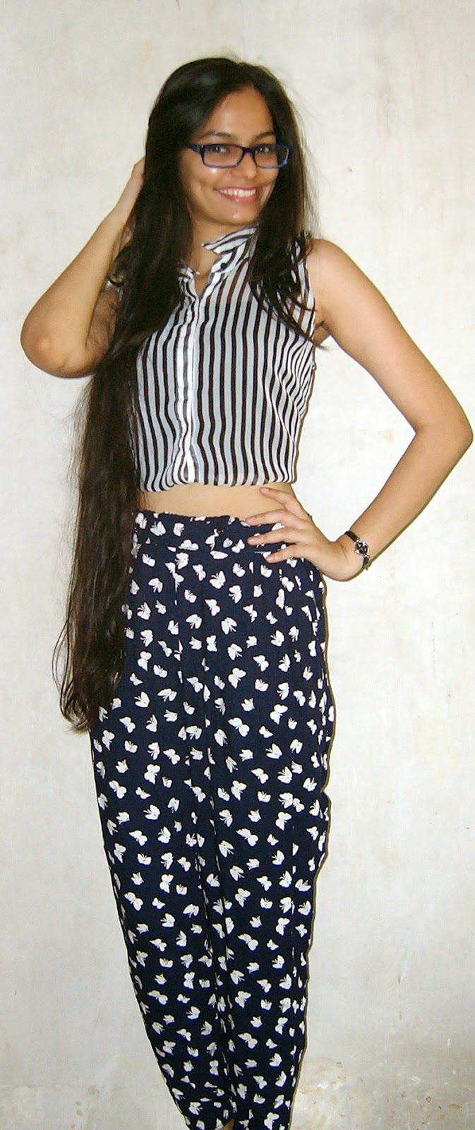 crop top and printed trousers, striped croptop, geek chic, indian streetstyle, printed crop tops, how to mix prints for summer, summer outfits in india