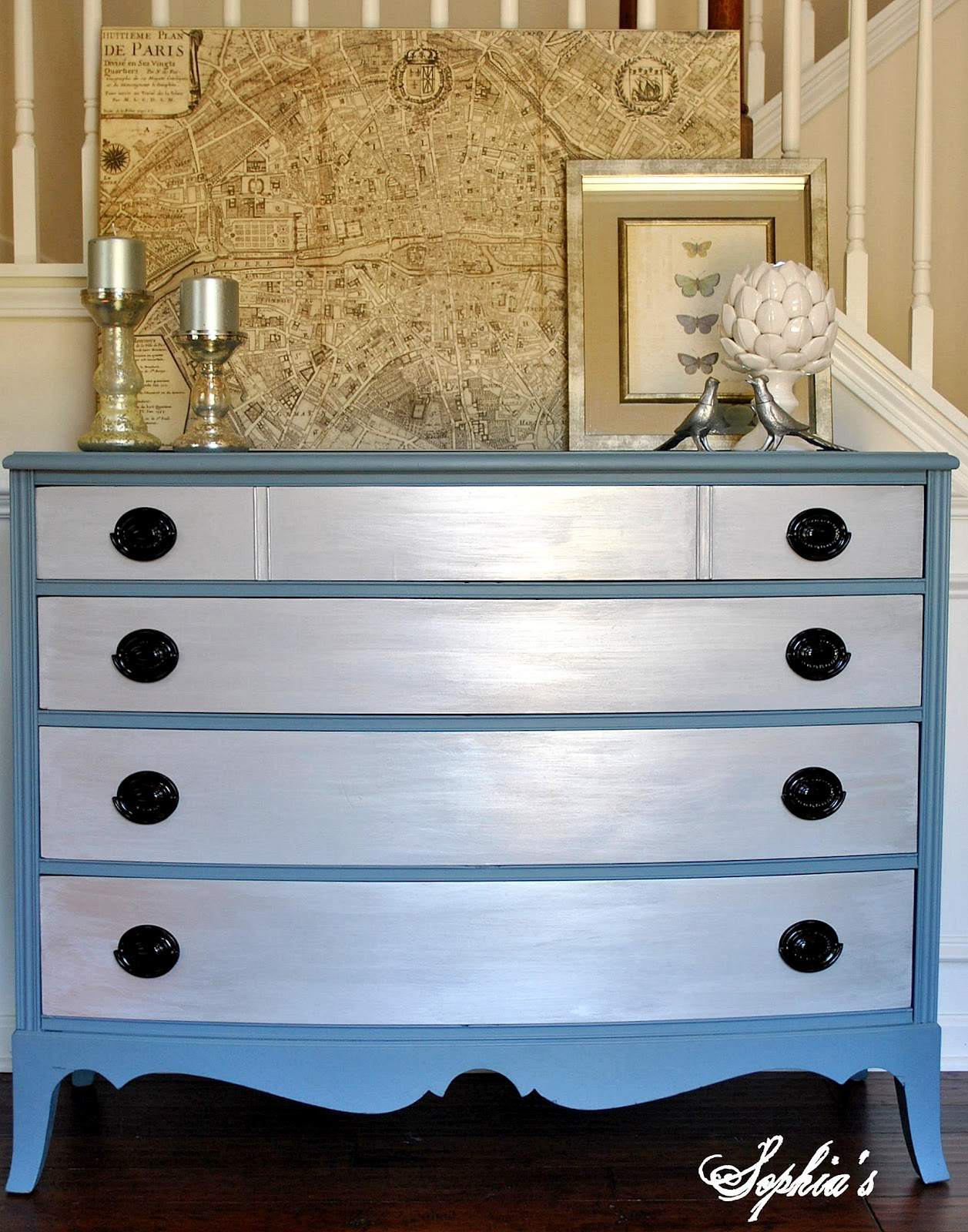 painted furniture makeover gold metallic. Slate Blue Metallic Dresser Makeover Painted Furniture Gold