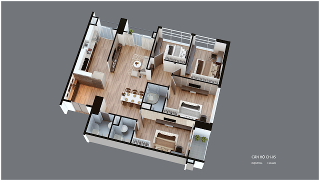 Mặt bằng căn hộ Imperia Garden CH05 120 m2