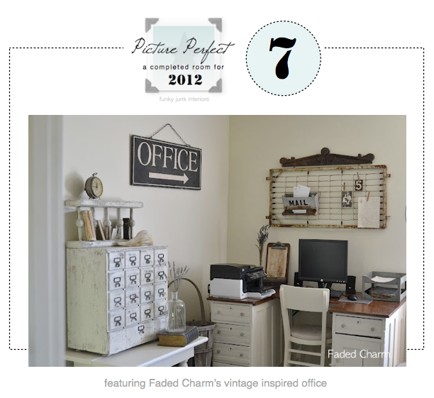 Faded Charm's vintage inspired office for Picture Perfect 7 - via Funky Junk Interiors