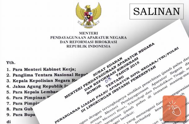 Surat Edaran MENPANRB Tentang Penanganan Ijazah Palsu ASN-TNI-POLRI
