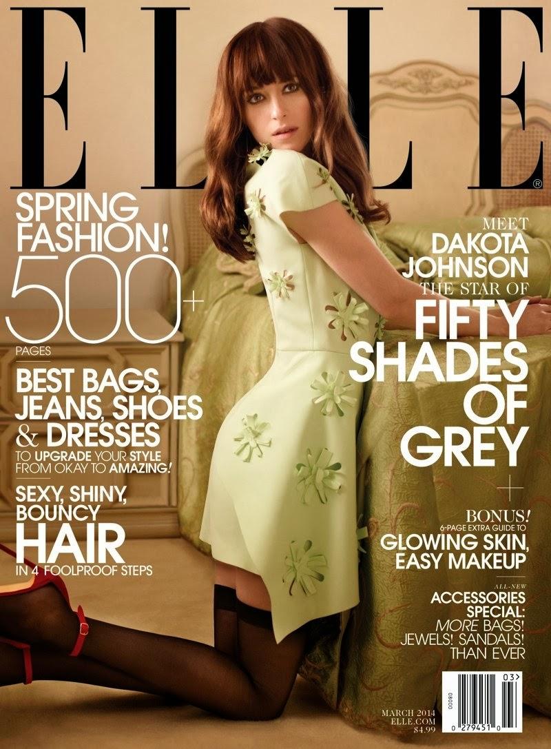 Fifty shades of grey star dakota johnson covers elle us march 2014