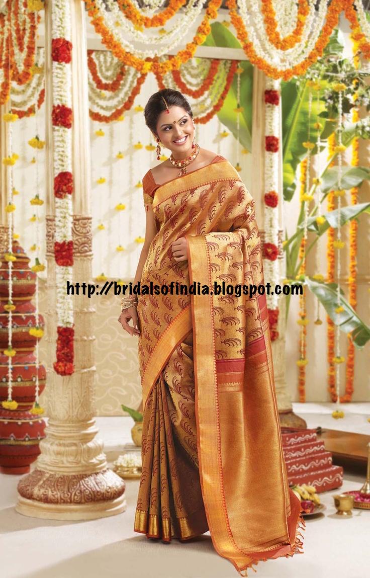 Fashion World Golden Color Bridal Silk Saree By Rmkv