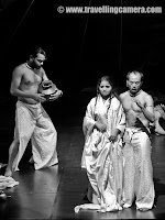 Blood Wedding play during Summer Theatre Festival 2011 @ National School of Drama, Delhi : Posted by VJ SHARMA on www.travellingcamera.com : Here is PHOTO JOURNEY through BLOOD WEDDING play of Summer Theatre Festival 2011 @ National School of Drama, DelhiBlood Wedding is a tale of a community of people who are bound passionately to the savage landscape in which they live and toil in order to grow and nourish life. However, mixed with this beauty and vitality is a poinonous history of family feuds, and most young women must endure a lifetime of windowhood and bitterness as they watch generations of young men grow old enough to fall in love, procreate  and bleed on the end of another young man's knife. There is a sense of inevitable tragedy linked with what it means to be a passionate Spaniard in Lorca's work. What he tells us is  that in order to feel this