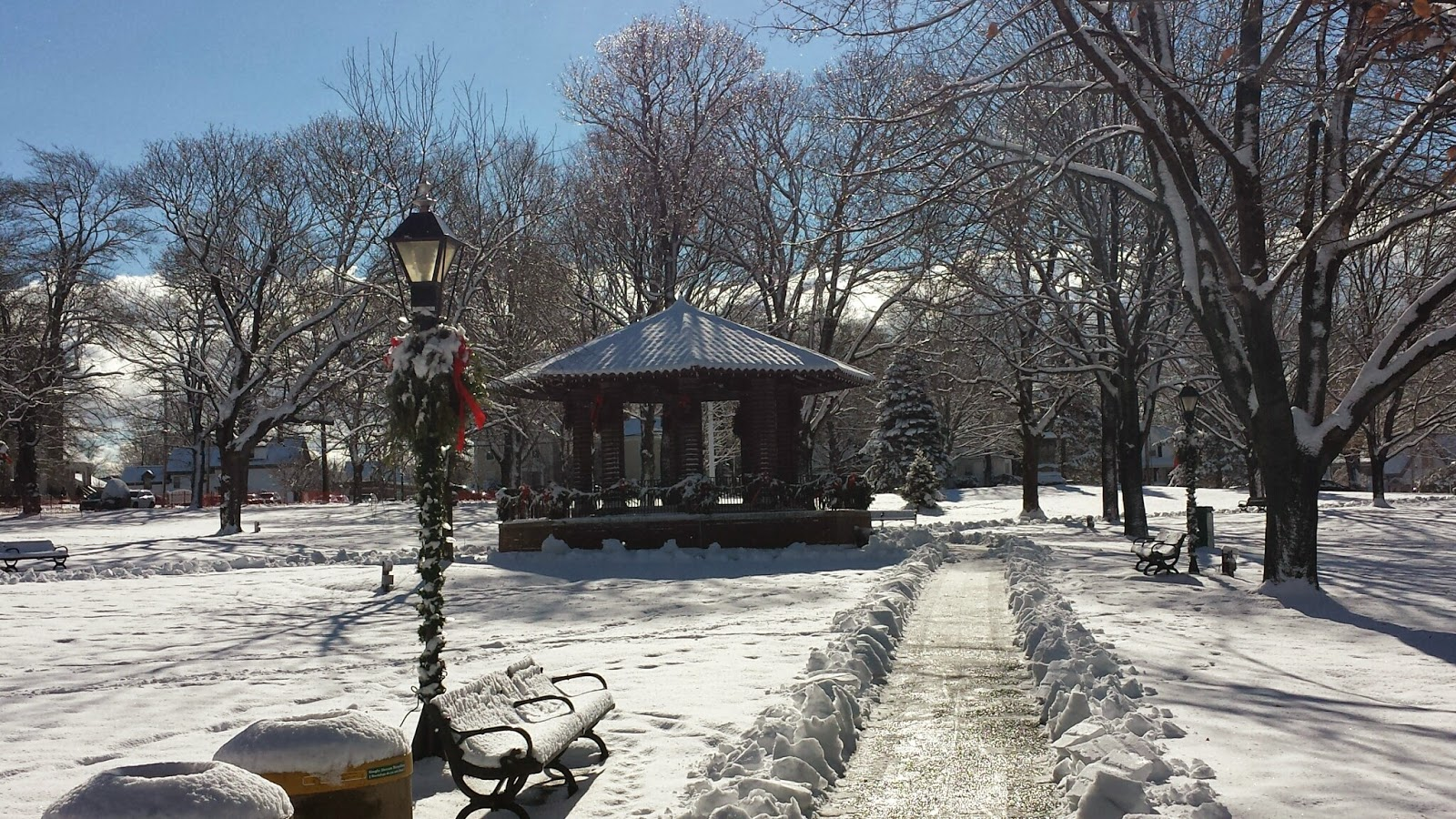 the bandstand surrounded by snow