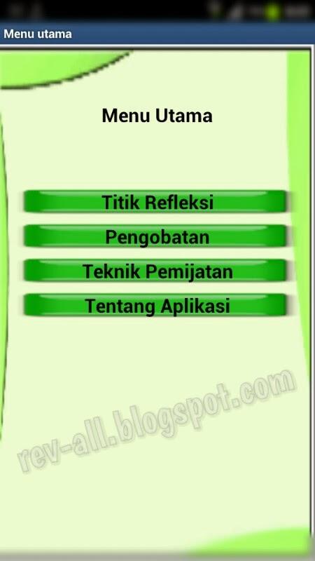 Menu Utama aplikasi Pijat Refleksi untuk Android (rev-all.blogspot.com)