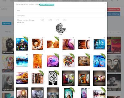 Take advantage of free widget of your own Art Gallery and be able to post it to other blogs or websites by copy and pasting html embed code