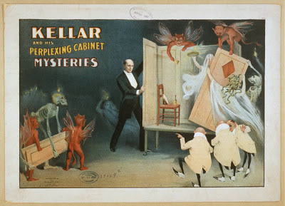 circus, classic posters, free download, graphic design, magic, movies, retro prints, theater, vintage, vintage posters, Kellar and His Perplexing Cabinet Mysteries - Vintage Magic Theater Poster