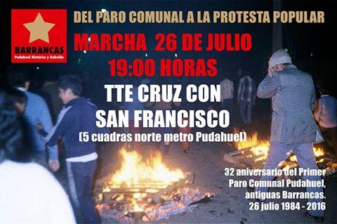PUDAHUEL: MARCHA  A 32 AÑOS DEL PRIMER PARO COMUNAL