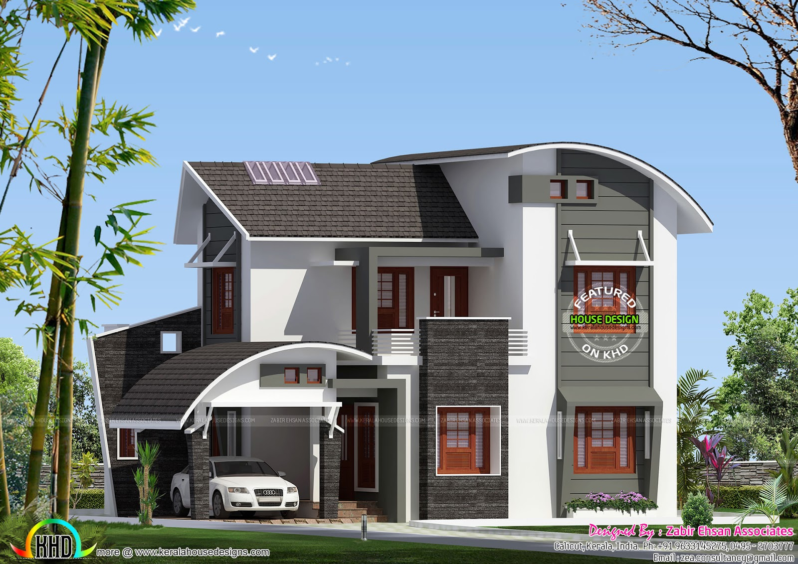 Charming 4 Bedroom Curved Roof Mix Contemporary Home Part - 10: 1775 Sq-ft Modern Mix Roof Home