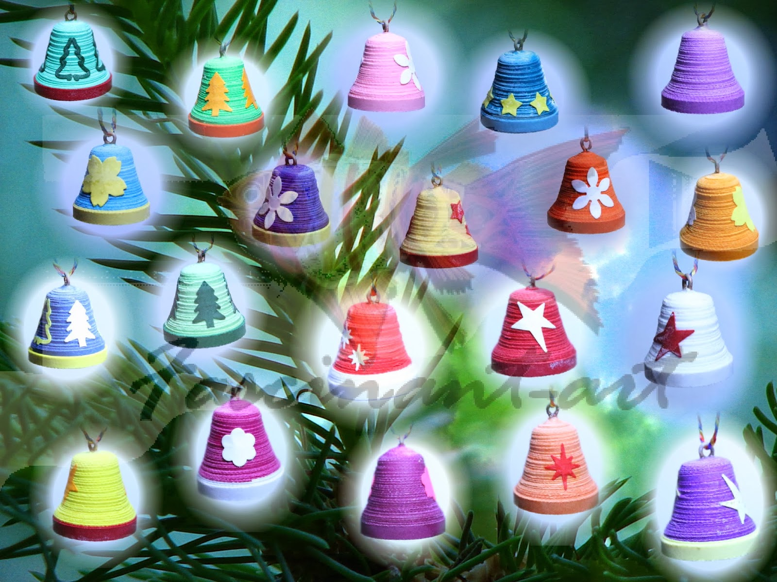 ... : Christmas ornaments & decorations - Christmas tree quilled bells