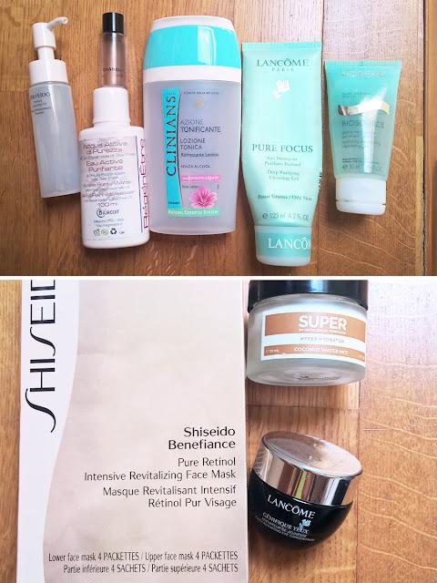 Empties prodotti terminati finiti 2015, prodotti viso finiti, recensioni prodotti viso, lancome, lancome pur focus gel, shiseido olio struccante, shiseido maschere viso, lozione sublimage chanel, shiseido benefiance mask