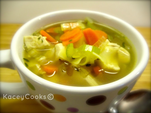Clucker Noodle Soup- Just what the Dr. ordered for cold season. It'll warm you up and make you feel better! #KaceyCooks