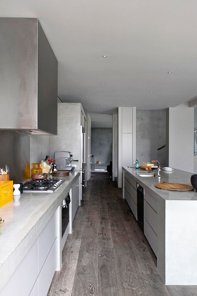 Narrow contemporary kitchen