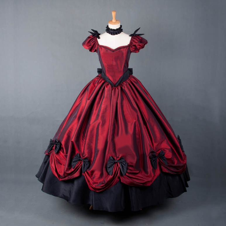 Black and Red Bow Gothic Victorian Dress