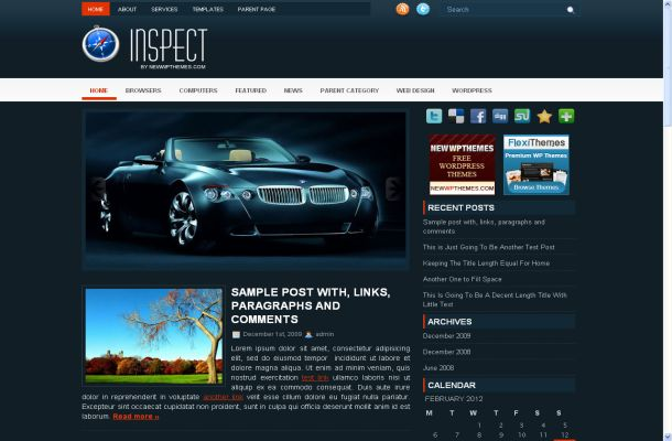Cars Blue Magazine Free Wordpress Theme Template