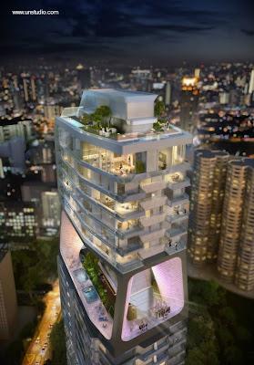 Torre The Scotts en Singapur vista nocturna de la coronación