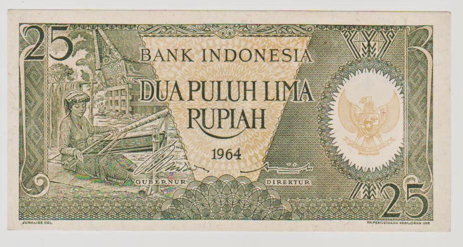 uang kuno Seri pekerja tangan tahun 1964 pecahan 25 rupiah
