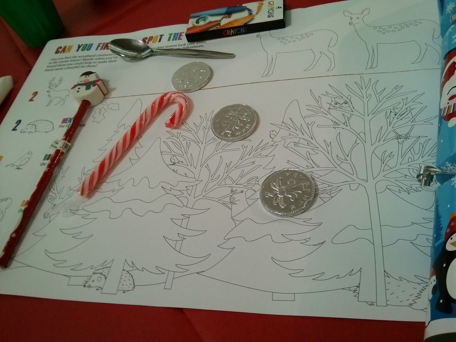 Colour in Table mat and Christmas treats