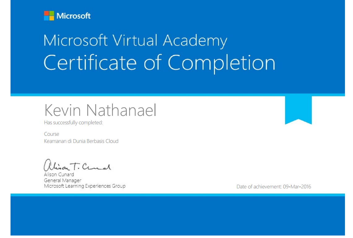 Certificate MVA