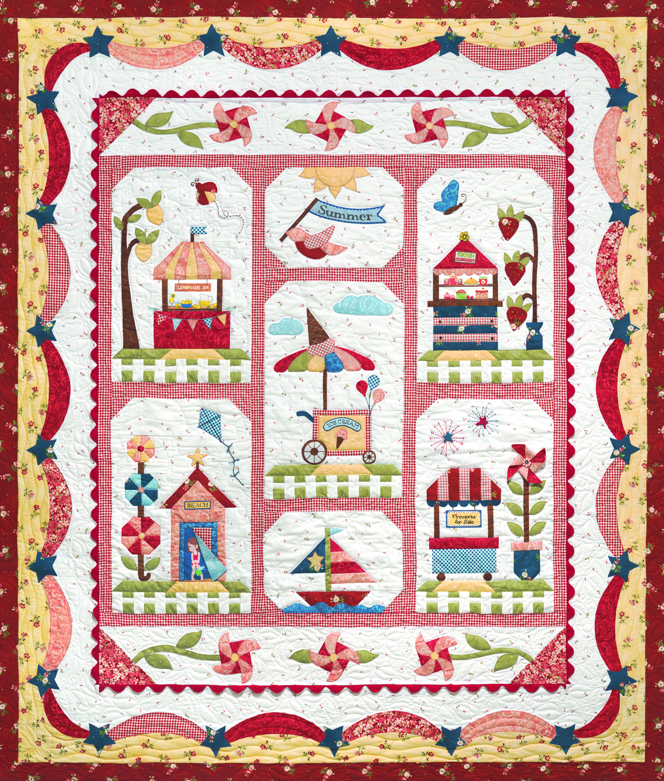 Quilt Patterns Block Of The Month : Fat Quarter Shop s Jolly Jabber: Summer Fun Block of the Month