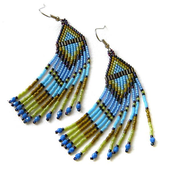 Серьги из бисера (оливково-голубые)