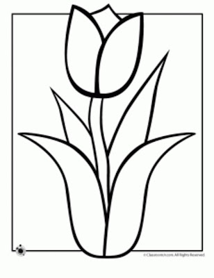 Tulip Spring Flower Coloring Page