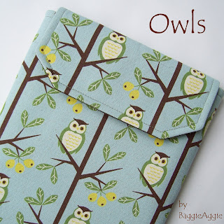 Owls - quality handmade fabric iPad case for women in blue, green, yellow and chocolate brown.