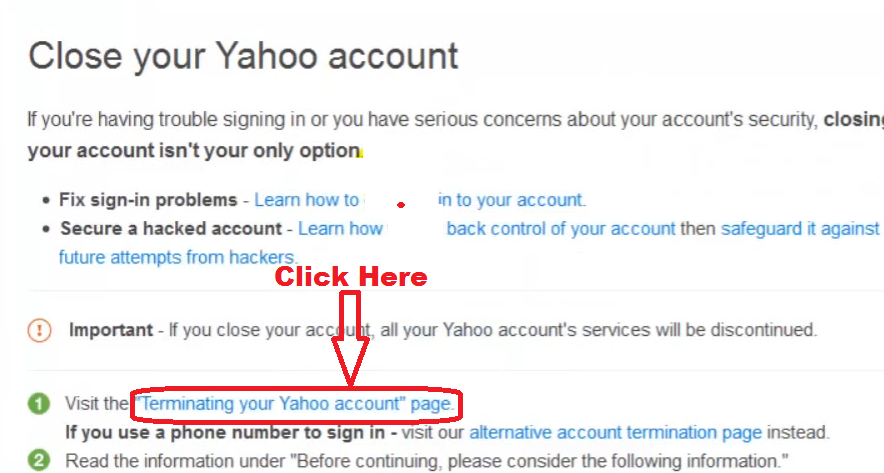sign in yahoo account termination page