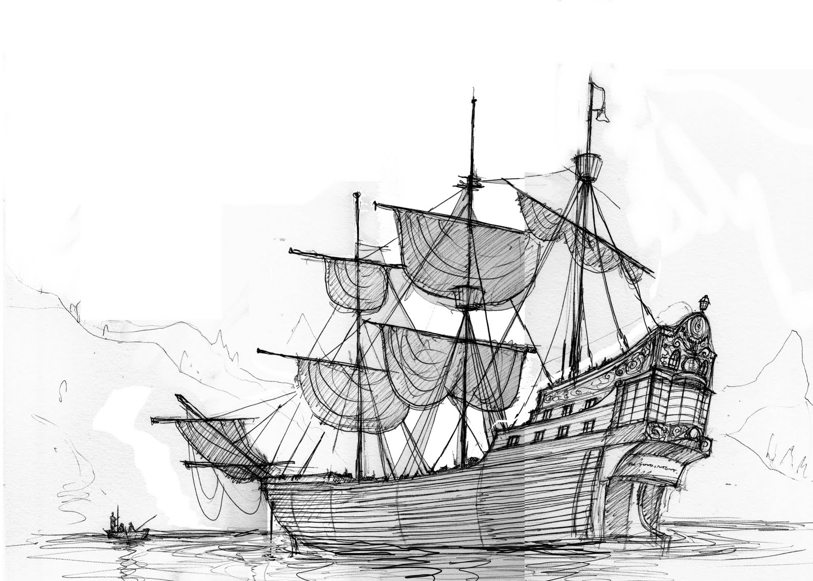 Pirate ship drawing - photo#4