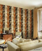 Roberto Cavalli, Pret Tapet, Modele Tapet, Montaj Tapet, Tapet Lux, model dungi cu flori negru portocaliu